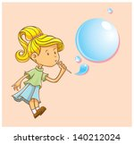 a girl blowing bubbles and... | Shutterstock .eps vector #140212024