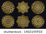 golden mandalas design set.... | Shutterstock .eps vector #1402145933