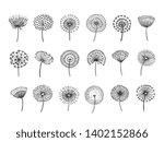 Dandelion Set. Doodle Hand...