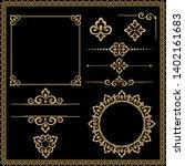 vintage gold set. floral... | Shutterstock .eps vector #1402161683