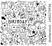 hand drawn party doodle happy...   Shutterstock .eps vector #1402175936
