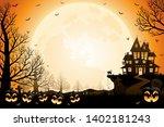 halloween pumpkins  spooky... | Shutterstock .eps vector #1402181243