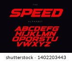 speed letters set. red race... | Shutterstock .eps vector #1402203443