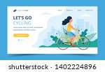 cycling landing page. woman... | Shutterstock .eps vector #1402224896