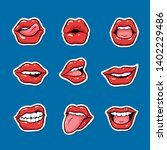 set of female mouths with red... | Shutterstock .eps vector #1402229486