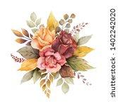 watercolor autumn arrangement... | Shutterstock . vector #1402242020