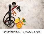Parts Of Hookah And Fruits On...