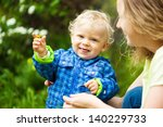 mother playing with her toddler ... | Shutterstock . vector #140229733