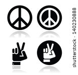 Peace  Hand Gesture Vector...