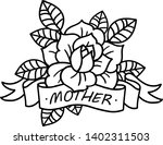rose tattoo with ribbon and... | Shutterstock .eps vector #1402311503