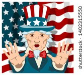 uncle sam with a frightened... | Shutterstock .eps vector #1402315550