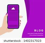 blog design concept in purple... | Shutterstock .eps vector #1402317023