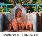 shrine covered in vermillion to ... | Shutterstock . vector #1402353149