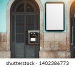 white empty billboard mockup on ... | Shutterstock . vector #1402386773
