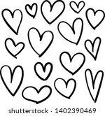 set of doodles hearts. grunge... | Shutterstock .eps vector #1402390469
