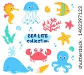 Sea Animals And Plants Element...