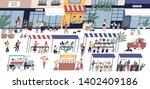 outdoor flower market with... | Shutterstock .eps vector #1402409186