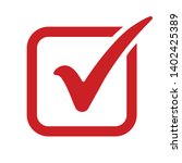 red check mark icon in a box.... | Shutterstock .eps vector #1402425389