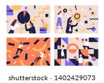 collection of people organizing ... | Shutterstock .eps vector #1402429073