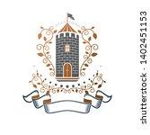 ancient castle emblem. heraldic ... | Shutterstock .eps vector #1402451153