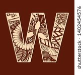 Letter W From Doodles. Initial...