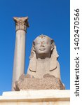 ancient sphinx and pompeys... | Shutterstock . vector #1402470566