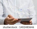 medical data digital in hand... | Shutterstock . vector #1402483646