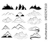 set of mountains. collection of ... | Shutterstock .eps vector #1402529210