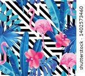 watercolor tropic pink... | Shutterstock . vector #1402573460