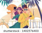 young man and woman couple with ... | Shutterstock .eps vector #1402576403
