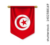 3d realistic pennant with flag... | Shutterstock .eps vector #1402588169