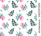 blooming pink roses and green... | Shutterstock . vector #1402592390