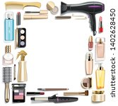 vector beauty accessories frame ... | Shutterstock .eps vector #1402628450