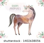 farms animal set. cute domestic ... | Shutterstock . vector #1402638056