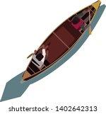 2 people paddling a canoe   Shutterstock .eps vector #1402642313