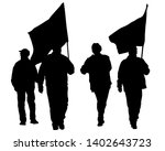 people of with large flags on...   Shutterstock .eps vector #1402643723