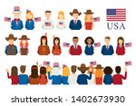 americans people portrait and...   Shutterstock .eps vector #1402673930