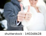 the bride and groom are happy | Shutterstock . vector #140268628