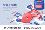 social media flat isometric... | Shutterstock .eps vector #1402701206