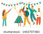 people celebrating party...   Shutterstock .eps vector #1402707383