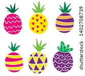 flat pineapples  bright cartoon ... | Shutterstock .eps vector #1402708739
