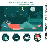 male insomniac lying in bed at... | Shutterstock .eps vector #1402709333
