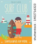 surfing poster. funny cartoon... | Shutterstock .eps vector #1402716323