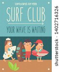 surfing poster. funny cartoon... | Shutterstock .eps vector #1402716326