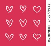 heart doodle icons. hand drawn... | Shutterstock .eps vector #1402779866