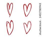heart doodles  sketch hand... | Shutterstock .eps vector #1402780943