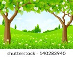 green background with trees... | Shutterstock . vector #140283940