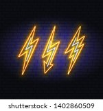 lightning bolt set neon signs.... | Shutterstock .eps vector #1402860509