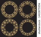 set of gold vintage frames.... | Shutterstock .eps vector #1402875356