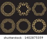 set of gold vintage frames.... | Shutterstock .eps vector #1402875359